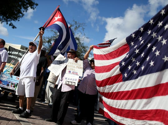 Protesters Opposed To Obama's Shift In Cuba Policy Demonstrate In Miami