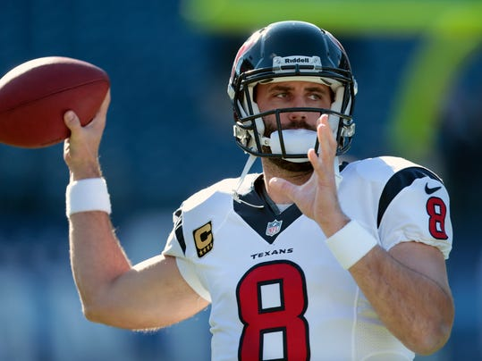 FILE - In this Dec. 29, 2013 file photo, Houston Texans quarterback Matt Schaub warms up before an NFL football game against the Tennessee Titans, in Nashville, Tenn. The Texans are nearing a deal to trade Schaub to the Oakland Raiders, a person familiar with the negotiations said Friday, March 21, 2014. The person spoke to The Associated Press on the condition of anonymity because the deal was not yet complete.  (AP Photo/Wade Payne, File)