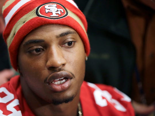 FILe - In this Jan. 31, 2013 file photo, San Francisco 49ers' Chris Culliver answers questions at Super Bowl media day in San Francisco. After a second straight tumultuous offseason, Culliver could use another fresh start. Culliver, who made anti-gay remarks during the 2013 Super Bowl, was arrested in March after police said he drove into a bicyclist near downtown San Jose and fled. Culliver missed last season with a knee injury.  (AP Photo/Mark Humphrey, File)