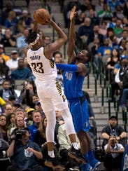 Indiana Pacers center Myles Turner (33) shoots over
