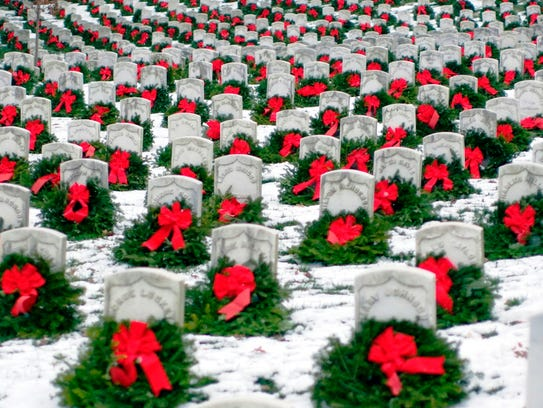Arlington National Cemetery, shown with wreaths placed
