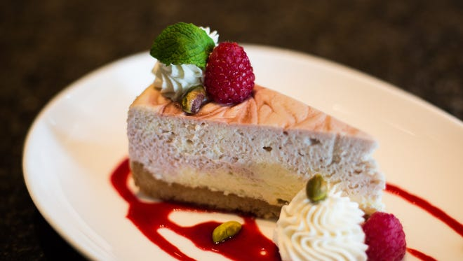 White chocolate raspberry cheesecake made by Robbi Santos, who is the pastry chef at Corbett's, Equus and Jacks Lounge,and Ward 426.