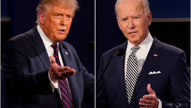 This combination of photos shows President Donald Trump, left, and former Vice President Joe Biden during the first presidential debate at Case Western University and Cleveland Clinic, in Cleveland, Ohio on Sept. 29, 2020.