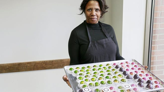 Michelle Allen, owner of Mmelo Boutique Confections, pictured in April 2020. Her business is making a comeback after a move to a new production space in Polaris.