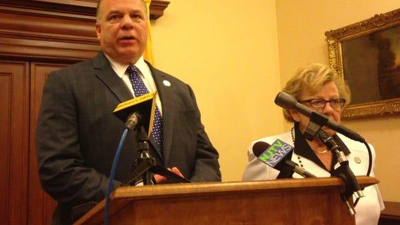 Senate President Stephen Sweeney and Majority Leader Loretta Weinberg announce alternate budget plan for fiscal 2015. (Michael Symons/Asbury Park Press)
