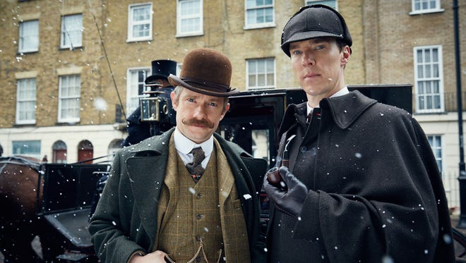 "Martin Freeman and Benedict Cumberbatch don period garb for the Victorian-era special ""Sherlock: The Abominable Bride."""