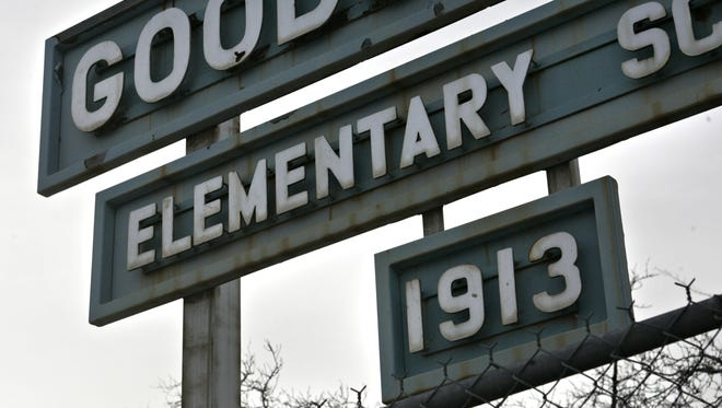 The Goodsprings Elementary School sign is shown Wednesday, Jan. 10, 2006, in Goodsprings, Nev.
