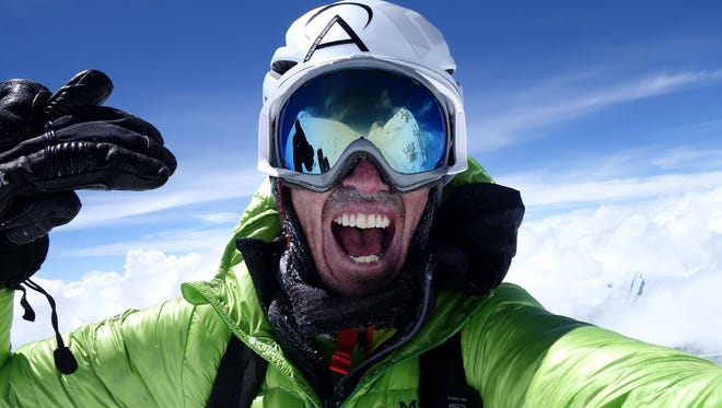 Adrian Ballinger of Squaw Valley, Calif., stood atop Mount Everest for the seventh time on Saturday. Ballinger, shown here during an attempted ski ascent of Makalu in 2015, climbed with Colorado climber Cory Richards.