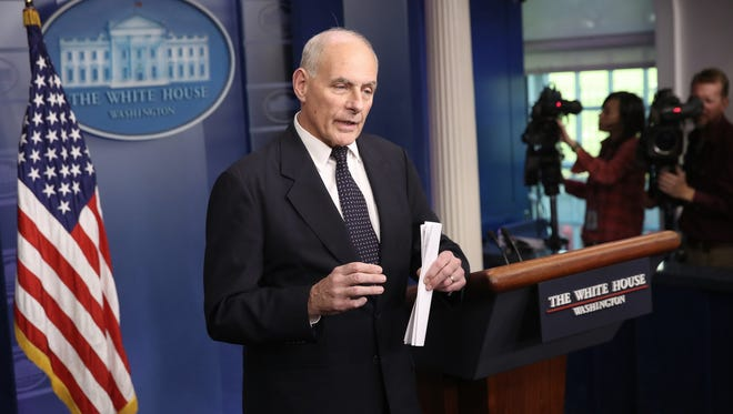 White House Chief of Staff John Kelly speaks during the daily briefing on Oct. 19, 2017.