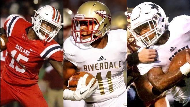 (Left to right) Oakland's Jeron Rooks, Riverdale's Savion Davis and Siegel's Lelan Wilhoite are the three finalists for the DNJ All-Area Football Player of the Year.