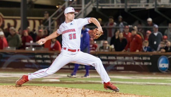 UL closer Logan Stoelke works during UL's home win over LSU last month.