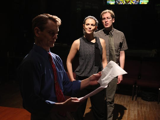 """Jason Collins (left to right), Larisa Olenik and Olli Haaskivi in a scene from """"Who's Your Baghdaddy? Or How I Started the Iraq War."""""""