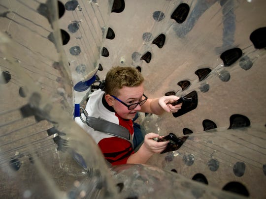 Jack Hollingsworth, 14, of Port Huron, gets inside a knockerball Saturday, Jan. 16, 2016 at MI Thumb Knockerball at the Birchwood Mall in Fort Gratiot.