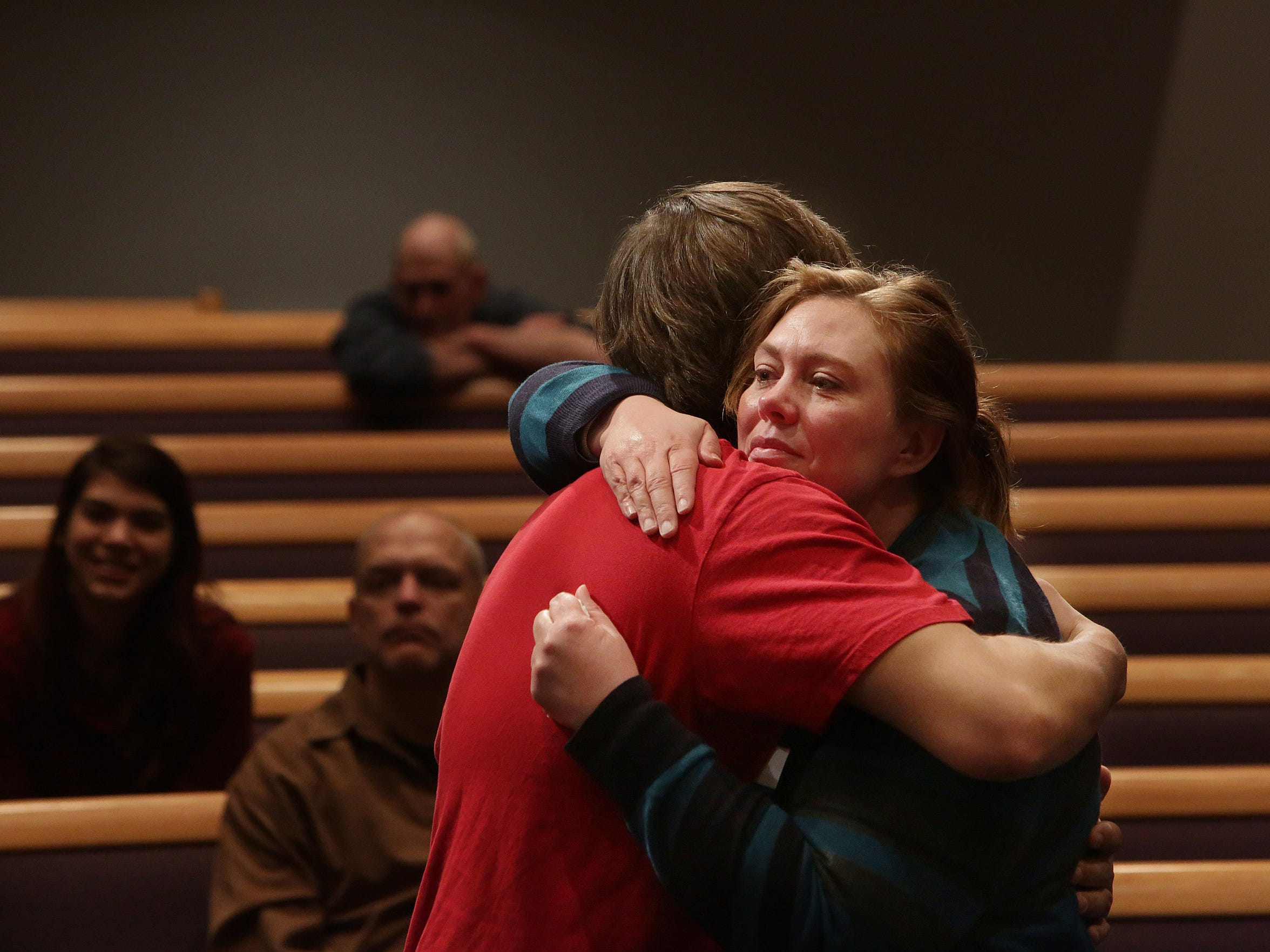 Newly formed CityReach Church is led by Pastor John Alarid and his wife, Hannah. Tina May hugs her son, Bradley Bernal, after they came forward to accept Jesus Christ.
