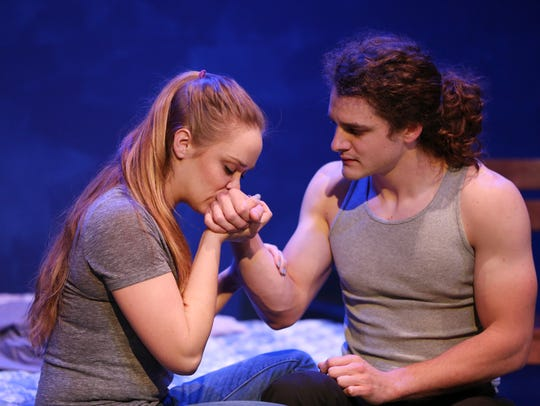 Hannah Alice Patterson and Justin Wanner rehearse scenes