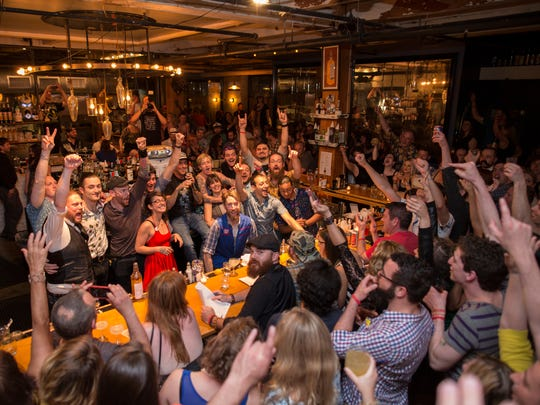 The crowd celebrates at the closing event during the 2015 Rochester Cocktail Revival.