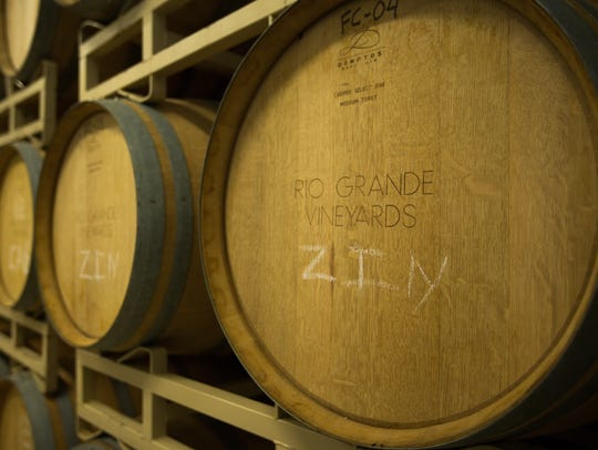 Rio Grand Winery and Vineyard's barrel room where all