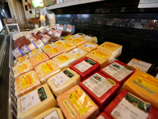 Cheeses for sale in the dairy store at the Seehafer