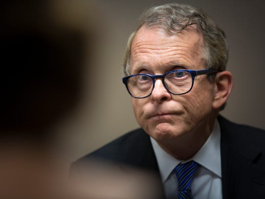 Ohio Attorney General Mike DeWine talks with The Enquirer