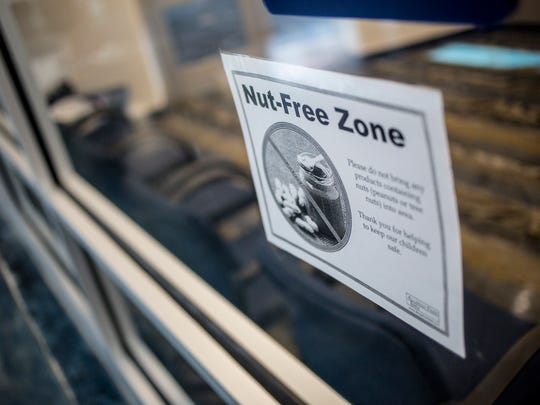 A sign alerts students that the school is a nut-free zone Friday, September 9, 2016 at Marysville High School. Marysville High School has adopted a nut-free policy for the school.
