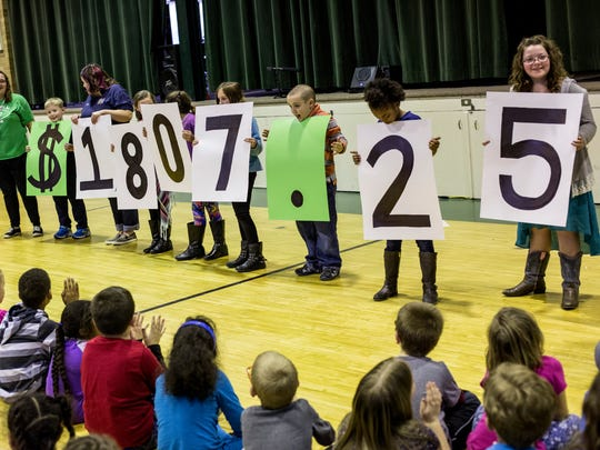 "Students reveal how much money they raised in ""penny"