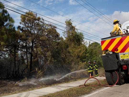Firefighters with the North Collier Fire Department and the Florida Forest Service monitor a small brush fire immediately north of 111th Avenue North and west of U.S. 41 Sunday, April 2, 2017, in North Naples. The fire was contained soon after it had been reported.