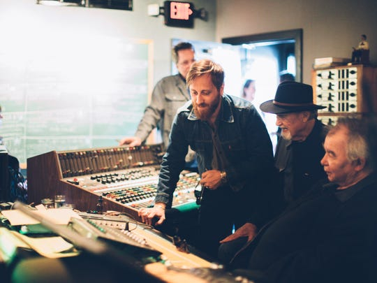 "Dan Auerbach listens to ""Waiting on a Song"" with Duane Eddy and John Prine at Easy Eye Sound in Nashville."