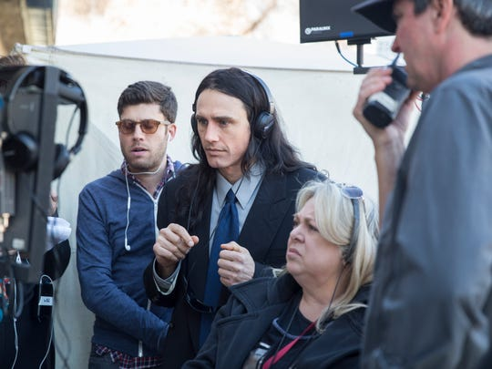 "James Franco (center) on the set of ""The Disaster Artist."""