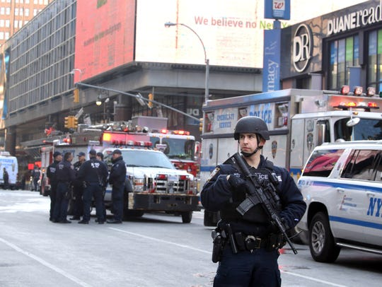 Heavily armed members of the New York City Police Dept.