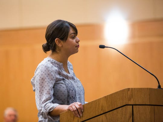 Johana Bencomo addresses the Doña Ana County Commission about a recent Facebook exchange between herself and John Vasquez about politicians endorsing other political candidates in races. Thursday January 25, 2018 at the County Commission meeting.