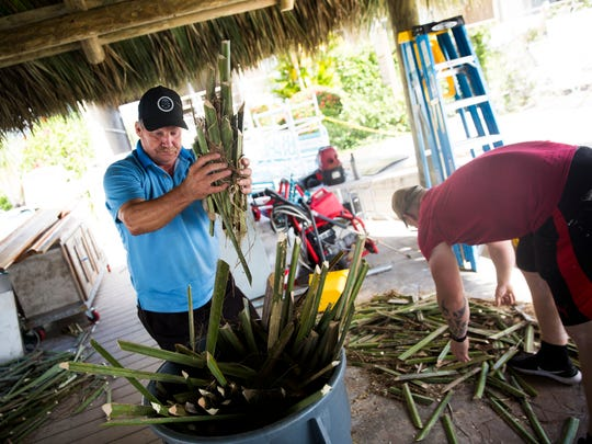 Jim Jenkins helps to put scraps from the cabbage palm leaves into the trash on Thursday, Feb. 22, 2018, at the Cove Inn on Naples Bay. O.B. Osceola, 83, first helped build the chickee at Cove Inn with his dad decades ago.