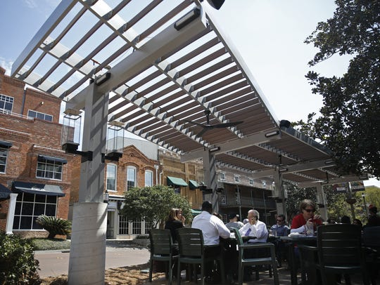 This pergola, pictured Monday, was added to the patio