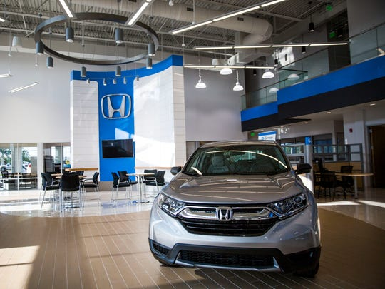 The interior of the new dealership features extra windows to allow natural light to fill the two story space on Monday, April 9, 2018, at the new Germain Honda of Naples on the corner of Pine Ridge Road and Livingston Road.