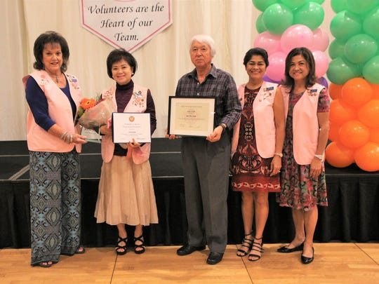 During the recently held Guam Memorial Hospital volunteers association awards ceremony. volunteer Yoori Kim received the distinguished honor of GMHVA lifetime member for her 20 years of volunteer service to GMH patients. Pictured from left: Founding and Lifetime Member Margaret Jones, Lifetime Member Yoori Kim, Kuen Kim, First Lady and Lifetime Member Christine Calvo, and, President and Lifetime Member Joyce Crisostomo. Each year the GMHVA holds the volunteer recognition and awards ceremony to honor the service and dedication of the GMHVA members. To join or to make a donation to GMHVA email gmhva@yahoo.com.