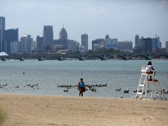 The beach at Belle Isle in Detroit on Wednesday, Aug.