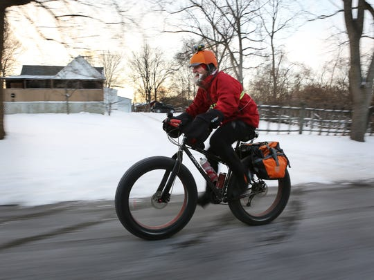 Cunningham hasn't missed a day biking to and from work