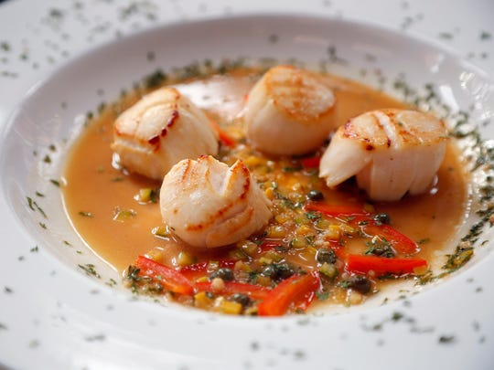 Large sea scallops from the Fieldstone Inn in rural Stanhope on Monday, Jan. 19, 2015.