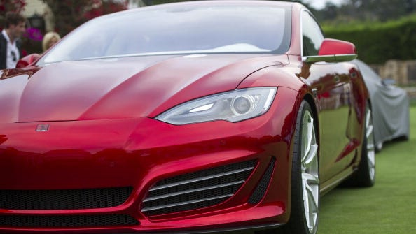 A Tesla Motors Foursixteen automobile is displayed during the 2014 Pebble Beach Concours d'Elegance in Pebble Beach, California, U.S., on Saturday, Aug. 16, 2014.