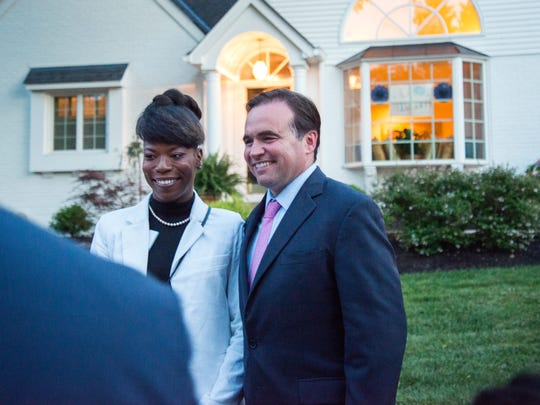 Cincinnati Mayor John Cranley and Cheriese Lindsey talk to the media about their experience with Democratic presidential candidate Hillary Clinton during a fundraiser at Cranley's Hyde Park home Sunday June 26, 2016.