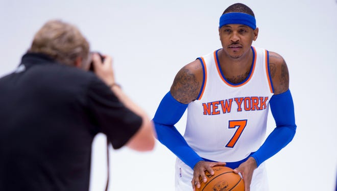 The Knicks' Carmelo Anthony is photographed by NBA photographer Nat Butler during Media Day at the Knicks practice facility in Greenburgh. Anthony knows that he didn't take the easy path to a championship.
