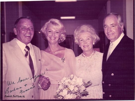 Frank and Barbara Sinatra pose with their hosts, Leonore