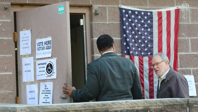 David Warner, 67, of Teaneck, enters the polling site to vote during the municipal elecation at the American Legion in Teaneck on Tuesday May 8, 2018.