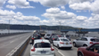 Traffic backs up on the Rockland-bound lanes of the