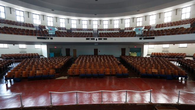 A view from the stage in the auditorium at Thornton High School in Mount Vernon on Wednesday, Jan. 27, 2016. The auditorium is not used because it is so run down.