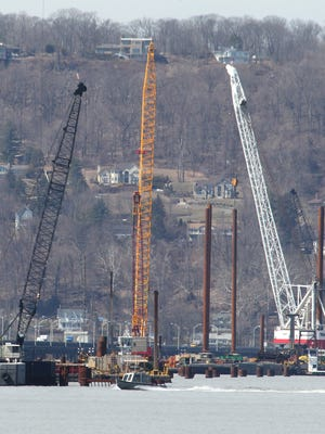 Construction moves apace in April 2015 on the Rockland side of the new Tappan Zee Bridge. The northern span will open first, with a shared use path providing a crossing for walkers and cyclists.