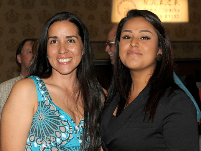 Monica Higgins, left, and Lupe Acosta attend the Nevada