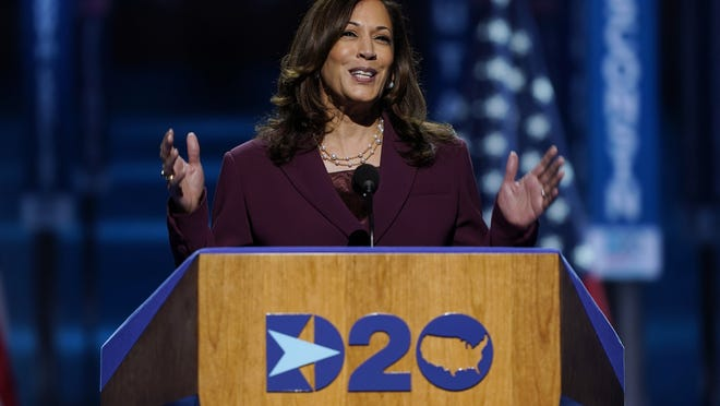 Democratic vice presidential candidate Sen. Kamala Harris, D-Calif., speaks during the third day of the Democratic National Convention Wednesday in Wilmington, Del.