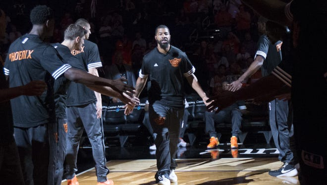Phoenix Suns forward Markieff Morris is introduced before playing the Sacramento Kings in preseason NBA action at Talking Stick Resort Arena in Phoenix October 6, 2015.