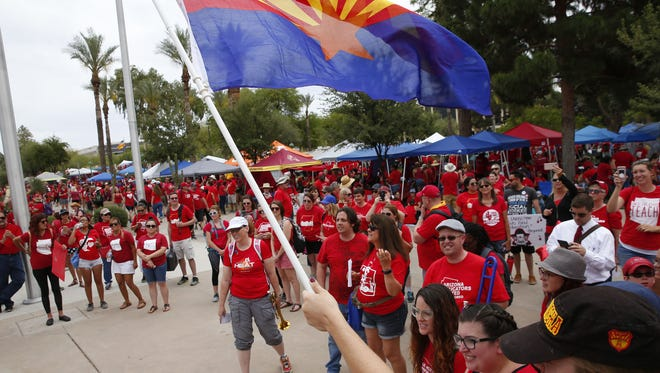 Supporters gather during day four of the #RedForEd walkout at the Arizona Capitol in Phoenix May 1, 2018.