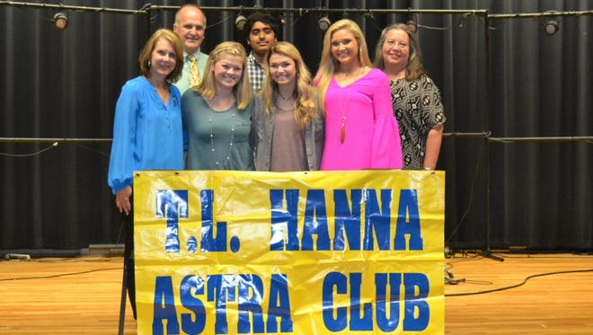 In the front row, from left, are Altrusan Beth Hearn, ASTRA President Carrie Skeen, ASTRA treasurer Mallie Wentzky , ASTRA secretary Berkley Bryant, and T.L. Hanna ASTRA Faculty Adviser Susan Dyar. In the back row, from left, are T.L. Hanna ASTRA Adviser Richard Morand, and ASTRA vice president Syed Bukhari.